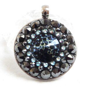 Velký akvamarínovo-hematitový náhrdelník s kamínkem s patinou