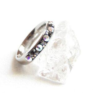 Úzký hematitový prstýnek s AB kamínky