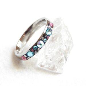 Úzký tyrkysovo-růžovo-hematitový prstýnek
