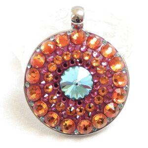 Velký oranžovo-růžovo-tyrkysový náhrdelník