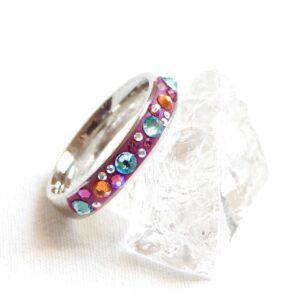 Úzký fuchsiovo-tyrkysovo-oranžový prstýnek