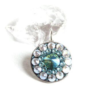 Největší světle tyrkysové náušnice s měsíčními kameny- mandala