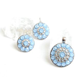 Střední matně modrá-crystal sada- mandala